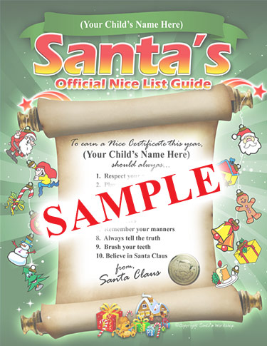Below is a sample of Santa's Personalized Nice List Guide