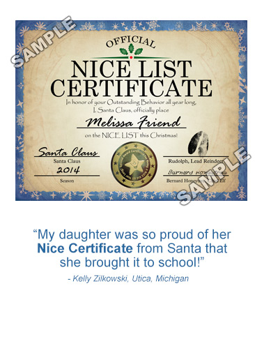 PackageFromSanta.com - Personalized Nice Certificate From Santa Claus!